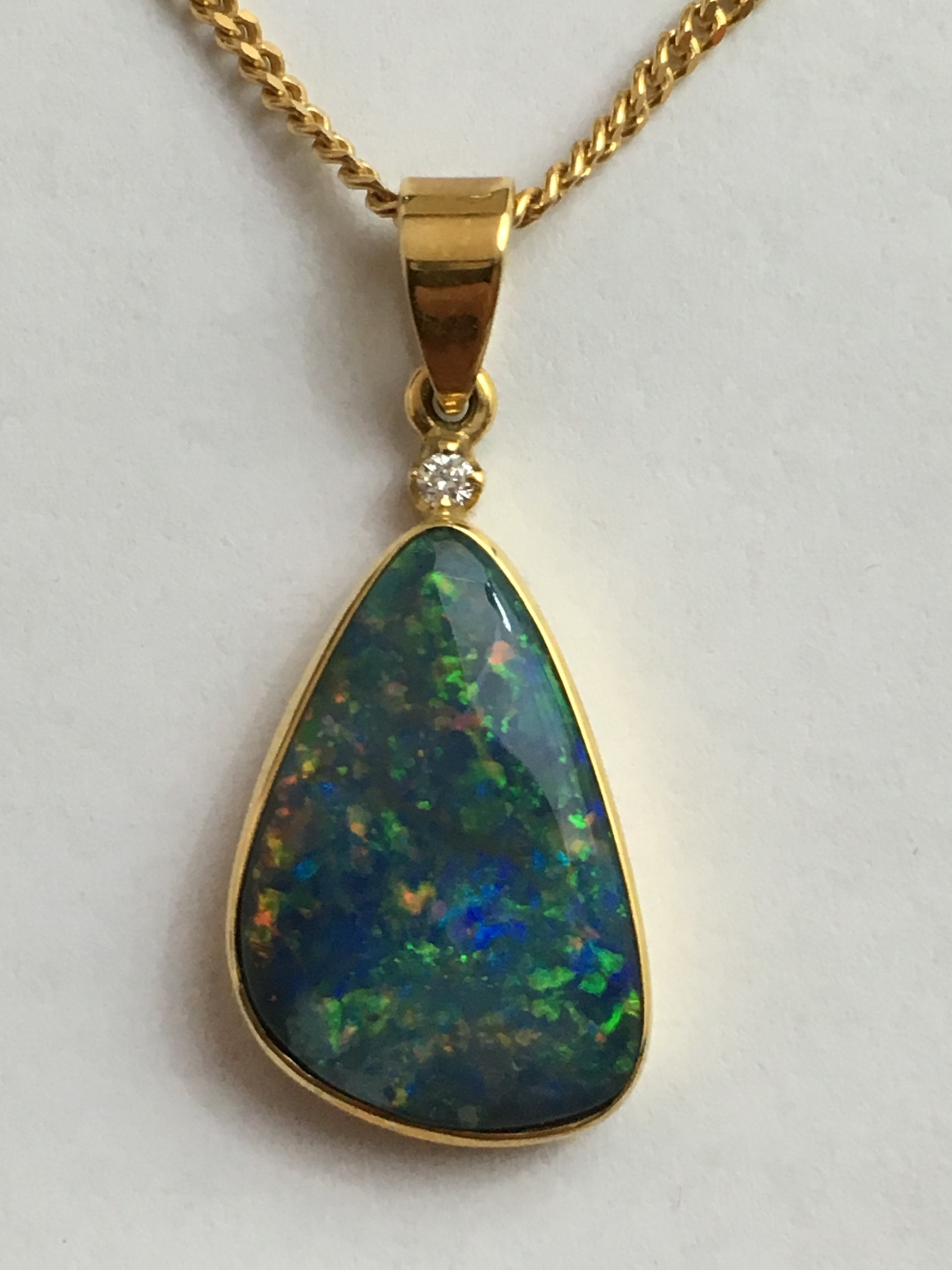 Solid Black Opal Pendant 18k Gold Opal Rewards