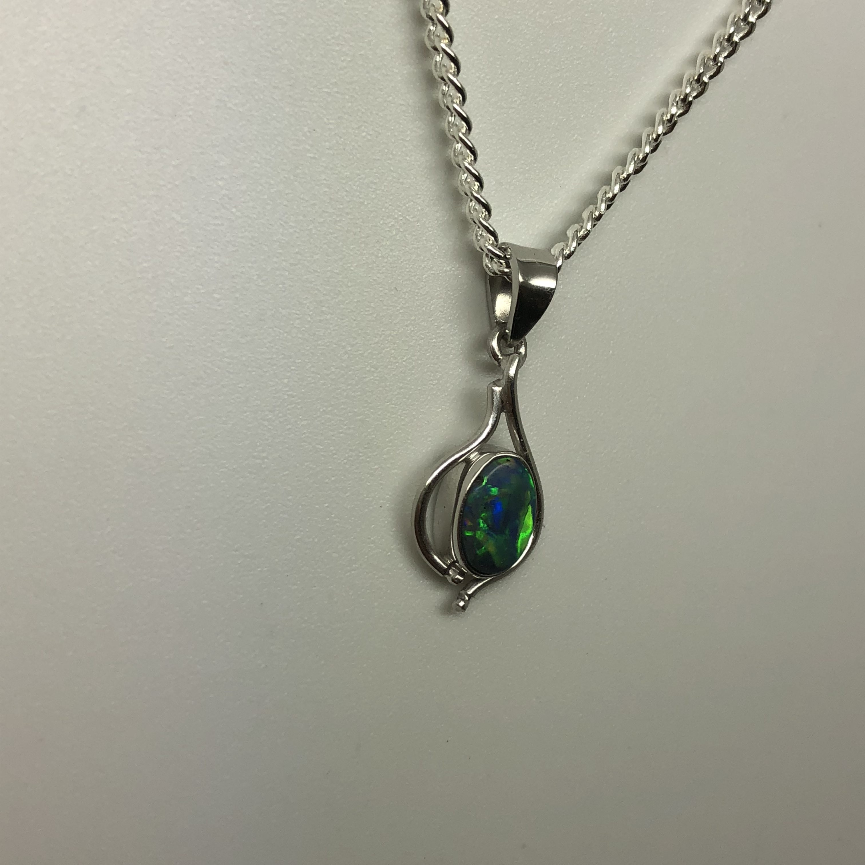 White gold 18ct blue green solid opal pendant opal rewards 18 ct white gold blue green solid opal pendant aloadofball Gallery